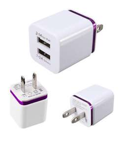 Dual 2 USB 2A+1A Home Wall Charger Adapter US Plug for apple iPhone i Pad iPod