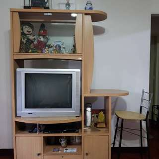 TV Rack with Side Bar and Stool