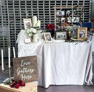 Wedding photo corner- Rustic set up