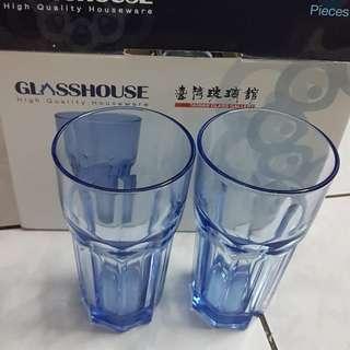 深藍色玻璃水杯六入 買就送酒杯及茶杯