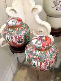 Famille Rose Canton Ginger Jars