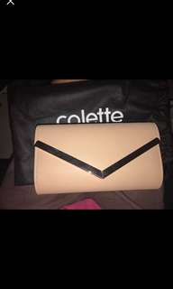 Beige and Gold Colette Clutch