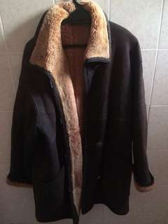 VINTAGE LEATHER WINTER FUR COAT