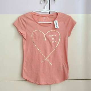 Auth OLD NAVY Peachy Pink Gold Graphic T-shirt for Girls