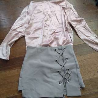 BUNDLE: Pink Silk Long Sleeves and Tie Up Skirt with Shorts