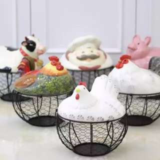 NEW Wire Egg Baskets Chef Cow Designs Country Kitchen Decor