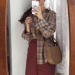 全新 大地色格紋襯衫 咖啡色襯衫 #換季五折