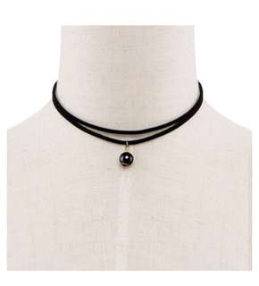 Black Artificial Pearl Pendant Choker Necklace