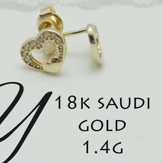 18K SAUDI GOLD EARRING '';.,'