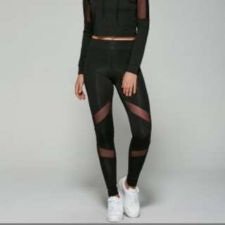 Mesh detail black leggings