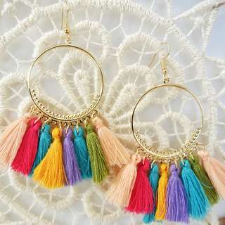 Dangling Statement Tassel Earrings