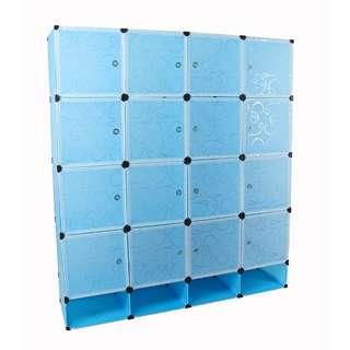 16  cubes wardrobe cabinet black & blue