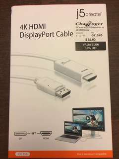 4K HDMI to DisplayPort Cable
