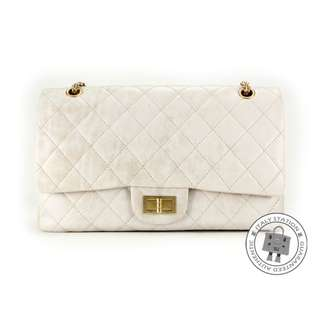(NEW) Chanel A37590 CLASSIC 2.55 VINTAGE CALFSKIN LARGE SHOULDER BAG GHW, VINTAGE WHITE 全新 手袋 白色 金扣