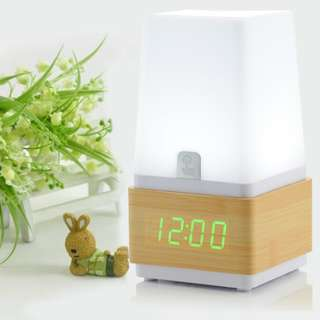 Bed Lamp with LED Clock - 木頭鐘電子鐘創意靜音夜光LED座鐘夜燈時尚床頭檯燈 - S1302
