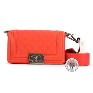 (NEW) Chanel A67085 BOY FLAP LAMBSKIN SMALL SHOULDER BAG SBHW, ORANGE RED 全新 手袋 橙紅色