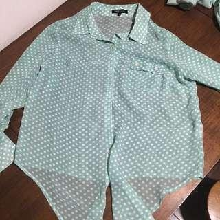 Net湖水綠水玉罩衫上衣