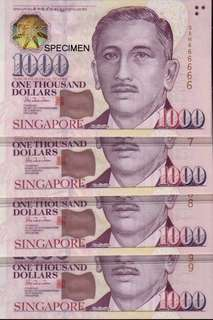 S$1000 Notes (4 x RUNNING NUMBERS)