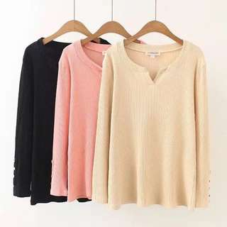 (XL~3XL) Korean version of the half-necked stretch fashion long-sleeved bottoming shirt T-shirt