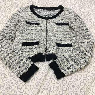 日本品牌 ingni 黑白毛呢香奈兒風小外套毛衣