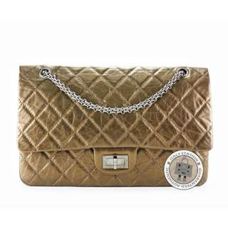 (NEW) Chanel A37590 CLASSIC 2.55 CALFSKIN LARGE SHOULDER BAG SBHW, BRONZ 全新 手袋 銀扣