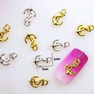 10Pcs/Lot 6*9mm Rose Gold Silver Anchor Metal Alloy Nail Art Decorations 3D DIY Nail Stickers Deco/Charms for Manicure