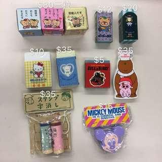 Sanrio , 麥嘜, Disney Mickey Mouse 浣熊日記,狗男女,雪熊 sugar cream puff 擦子膠
