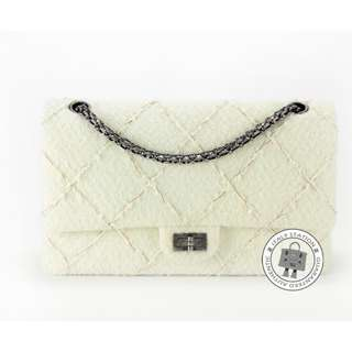 (NEW) Chanel A37587 LINEN FABRIC SHOULDER BAG SBHW, WHITE 全新 手袋 白色 銀扣