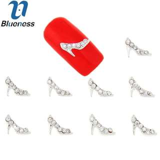 10Pcs/Lot Silver Alloy Metal High-heeled Shoes Rhinestones Studs Supplies For Charms Nails 3D Strass Nail Art Decorations TN1642