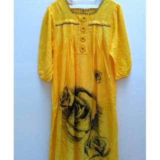 Long Dress Big Flower Kuning Kancing