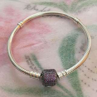 Authentic Pandora Signature Clasp Bracelet, in Purple CZ