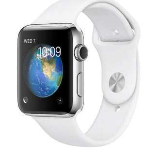 現貨全新未拆 Apple Watch Series 2 38mm Stainless Steel Case White Sport Band