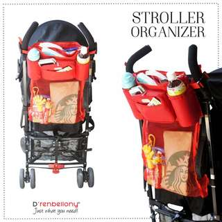 Stroller Organizer D'renbellony (Tempat Penyimpanan Di Kereta Dorong Bayi, Tempat Botol Minum) Red