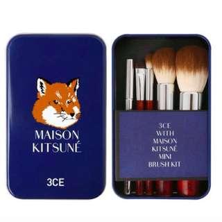🚚 全新現貨韓國3CE x Madison Kitsune 狐狸系列鐵盒刷具五件組
