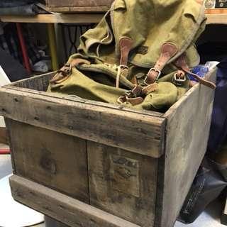 復古早期老木箱實木(中美合作貼紙)老品老件