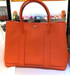 正品 全新 Hermes Garden Party 36 橘色手挽上膊袋 內特別布款 罕!