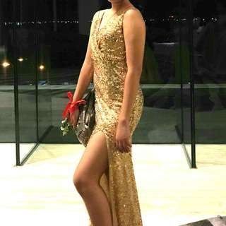 Gold Long Slit Gown