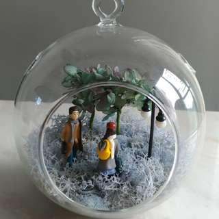 玻璃球保鮮植物盆景
