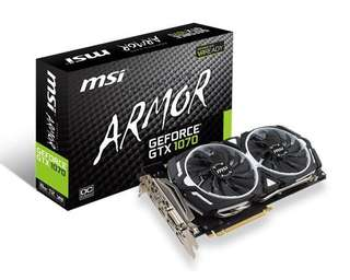 MSI GeForce GTX 1070 Armor 8GB OC Graphic Card