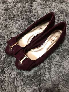 Burgundy Bowed Suede Shoes