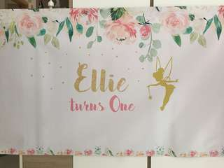 Personalised Banner for Birthday Party etc Fairy Theme