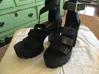 Brand new black thick block heels