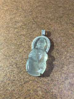 Highly translucent icy jadeite guanyin