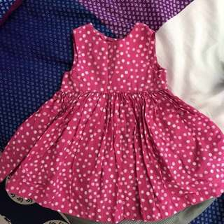 Mothercare pink with white polka dots dress