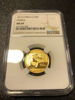 2014 China Gold Panda 1/4 NGC MS69