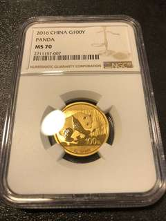 2016 China Gold Panda 1/4 NGC MS70