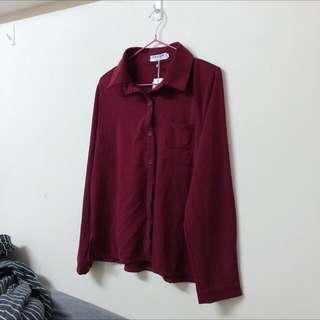 酒紅色襯衫 秋冬必備 韓系