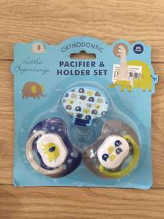 Orthodontic Pacifier and Holder Set