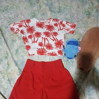 Palm cropped top and red shorts