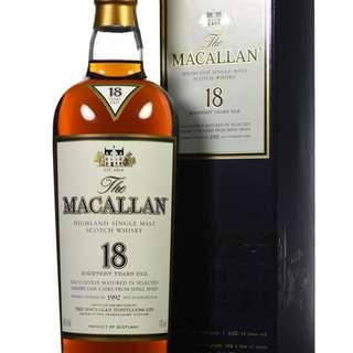 香港舊版 行貨 1992 Macallan 18年 Single Malt Whisky 威士忌 響 山崎 余市 輕井澤 ichiro karuizawa yochi yamazaki whiskey